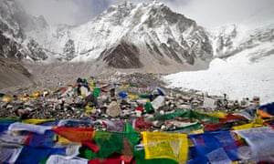 Everest base camp, with Buddhist prayer flags in the foreground