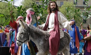 James Burke-Dunsmore plays the part of Jesus Christ in performance of The Passion of Jesus in Trafalgar Square in London by the Wintershall Players