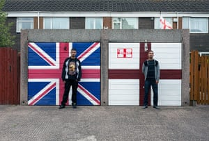 Cultural studies: St Georges Cross, Union Jack and two Asians 2010 - From the series You Get