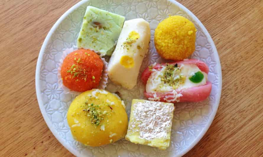 Assorted traditional Indian sweet treats from Bikaner Sweet and Curry Cafe.