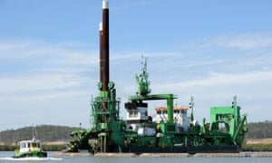A  dredge operates in Gladstone Harbour.
