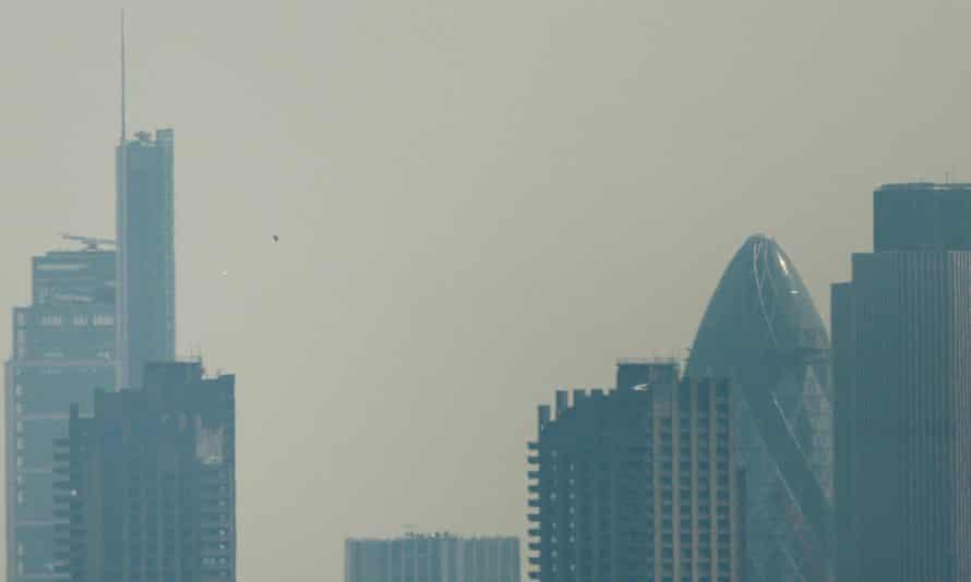 London's city skyline seen through the blanket of smog and Saharan desert dust.