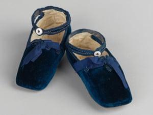 Velvet shoes worn by Prince Albert Edward, (Queen Victoria's eldest son), at eight months, 1842