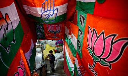 Election paraphernalia including flags of Indias ruling Congress party