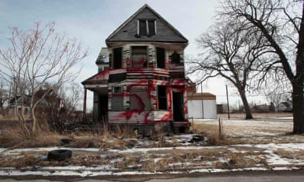 A vacant and blighted home in an east side neighbourhood of Detroit