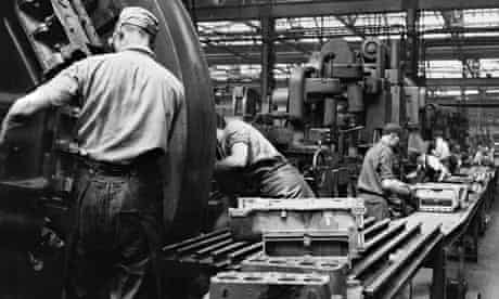 Men at work at the Ford factory at Dagenham in the 1950s