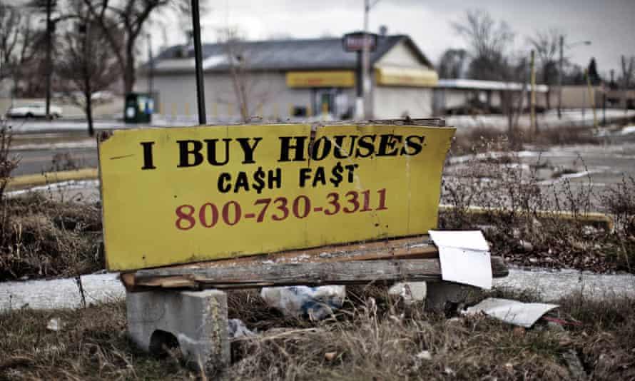 An advert in a formerly middle-class neighbourhood in east side Detroit