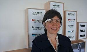 Zoë Corbyn wearing Google Glass