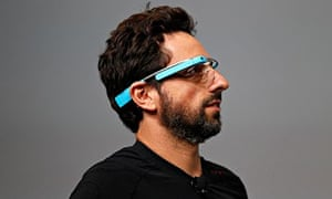 Sergey Brin, CEO and co-founder of Google, wears a Google Glass