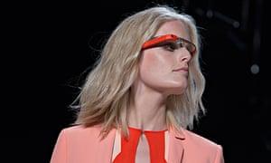 A model displays new product Google Glasses