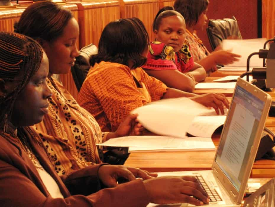 Rwanda's parliament is the first in the world where women hold a majority – 57%.