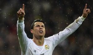 Cristiano Ronaldo celebrates after scoring his side's third goal.