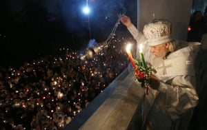 Russian Orthodox bishop Panteleimon attends a cross procession, in Moscow, Russia.