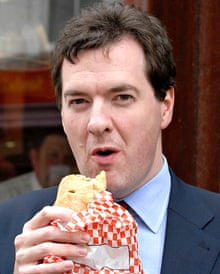 Osborne eating a pasty after his notorious 'omnishambles' budget.