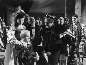 Laurence Olivier, seated, in the 1948 film Hamlet