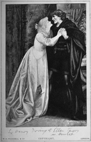 Illustration of English actors Ellen Terry and Henry Irving in the Shakespeare play Hamlet.
