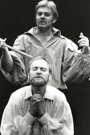 Derek Jacobi As Hamlet And Julian Glover As The King Of Denmark In Play 'hamlet' At The Old Vic.