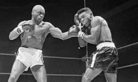 Rubin 'Hurricane' Carter, left, fighting Gomeo Brennan in New York in 1963.