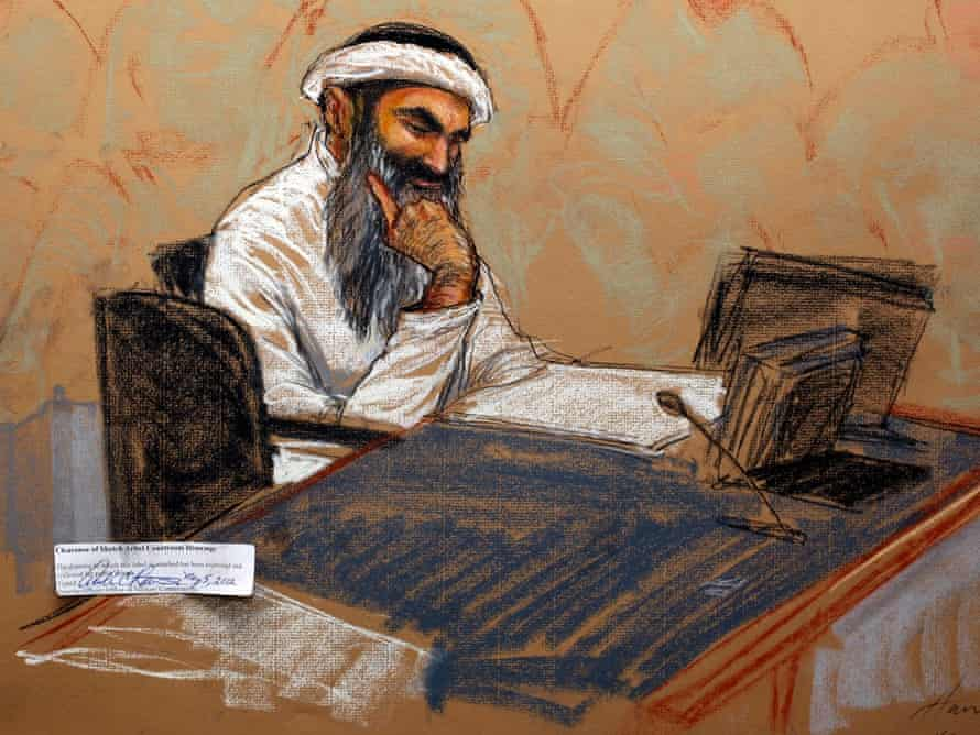Khalid Sheikh Mohammed in a Guantánamo courtroom sketch.