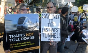 East-West Link protesters picket a test drilling site in Collingwood, Melbourne in January.
