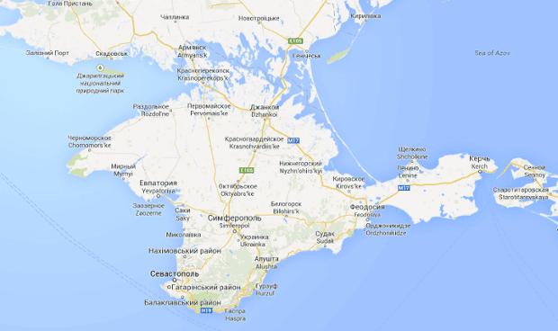 A map of Crimea on google.com.ua.