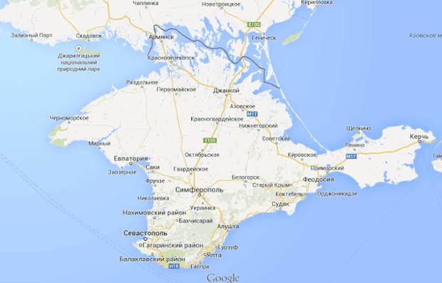 A map of Crimea on google.ru.