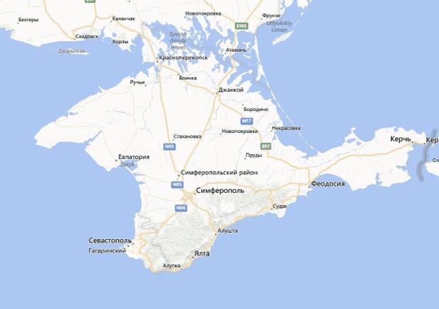 A map of Crimea on Bing.com