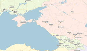 A map of Crimea on Yandex.ru