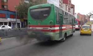 A bus belching smoke in Bogotá