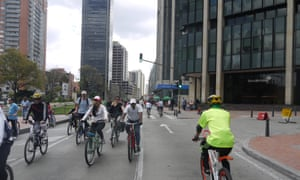 Cyclists take to the street during one of Bogotá's Ciclovía days, when cars are banned