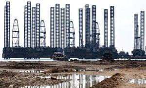 Gas platforms off the coast of Baku