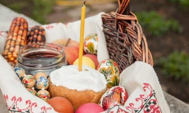 Ukrainian Easter basket with eggs