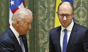 US vice president Joe Biden and Ukraine PM Arseniy Yatsenyuk
