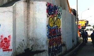 'Get a bike, you won't regret' sign in Kathmandu