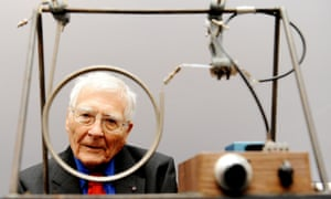 Scientist and inventor James Lovelock, 94, sits with one of his early inventions, a homemade Gas Chromatography device