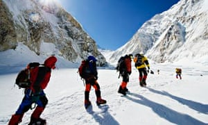 Climbers make their way to camp 2 on Mount Everest