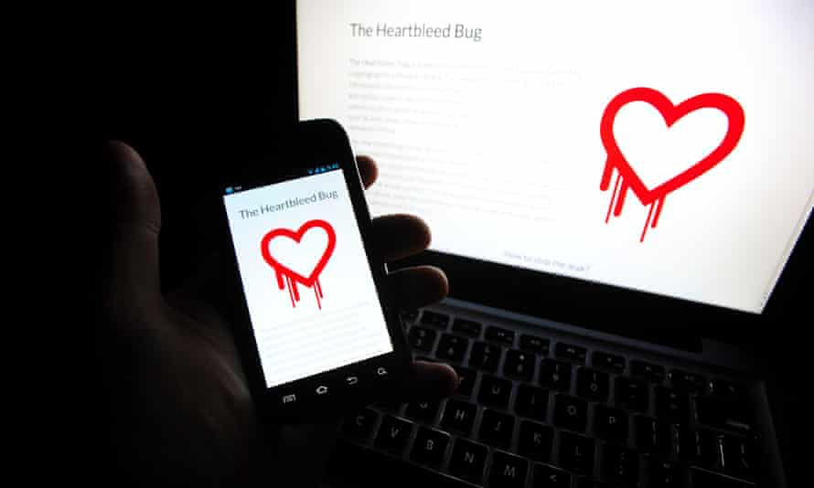 The Heartbleed logo on a phone and laptop