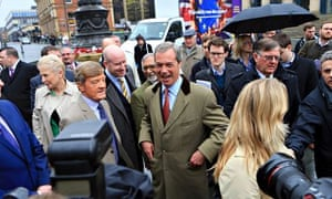 Pub wisdom ventriloquist … Nigel Farage at the start of Ukip's European election campaign
