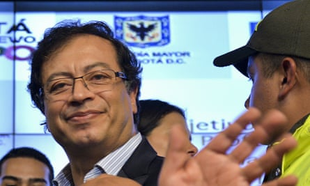 The Bogota mayor, Gustavo Petro, after being restored to office by a court order.
