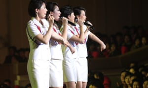 Singers of the Moranbong Band perform on stage in Pyongyang, North Korea.