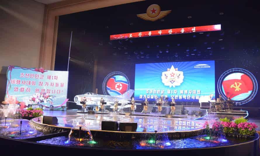 The Moranbong Band gives a performance for the  air force of the Korean People's Army (KPA) in Pyongyang this month.