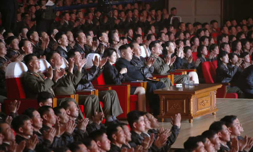 This photo released from North Korea's official Korean Central News Agency (KCNA) on 20 April, 2014 shows Kim Jong-un and his wife Ri Sol-Ju attending the performance.