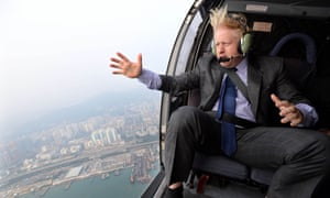 There's something about mayors: London incumbent Boris Johnson takes a helicopter ride over Hong Kong.