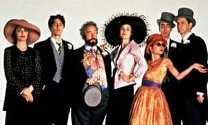 Four Weddings And A Funeral Starring From Left Kristin Scott Thomas Hugh Grant Simon Callow Andie MacDowell Charlotte Coleman John Hannah James