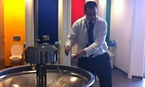 Vic Goddard washing his hands