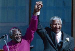 Nelson Mandela and Desmond Tutu in Cape Town in 1994
