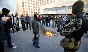 Masked pro-Russia protesters in Donetsk