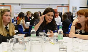 Miriam González Durántez talks to students at a careers event hosted by National Inspiring Women