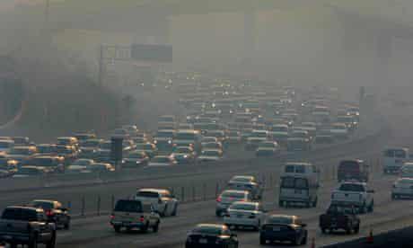 Smog over a California freeway