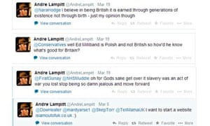 Tweets by suspended Ukip member Andre Lampitt, which have since been deleted.